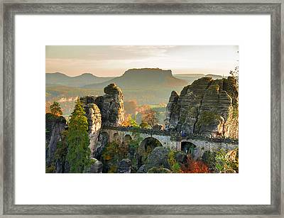 Autumn Afternoon On The Bastei Bridge Framed Print