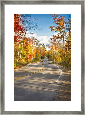 Framed Print featuring the photograph Autumn Afternoon On The Winding Road by Mark David Zahn Photography