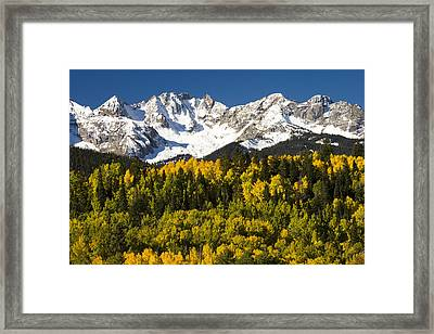 Autumn And Snow Covered Peaks North Framed Print by Tom Vezo