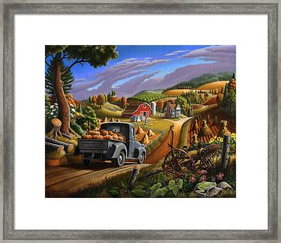 Autumn Appalachia Thanksgiving Pumpkins Rural Country Farm Landscape - Folk Art - Fall Rustic Framed Print by Walt Curlee
