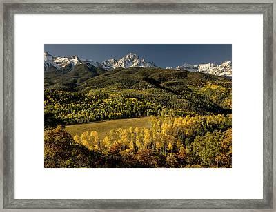 Autumn Aspen Trees And Mount Sneffels Framed Print