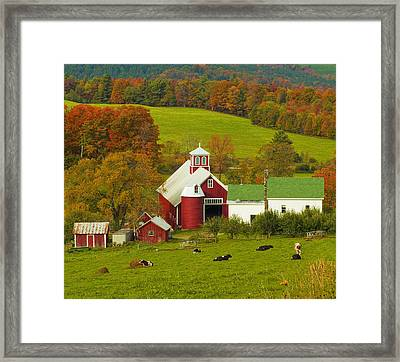 Autumn At Bogie Mountain Dairy Farm Framed Print by John Vose