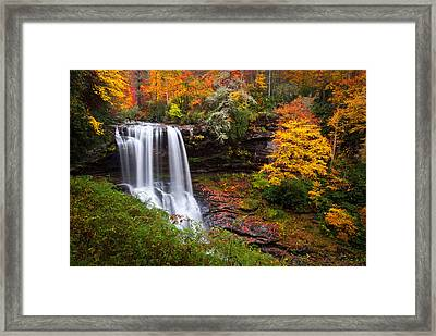 Autumn At Dry Falls - Highlands Nc Waterfalls Framed Print