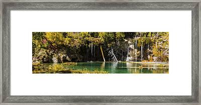 Autumn At Hanging Lake Waterfall Panorama - Glenwood Canyon Colorado Framed Print