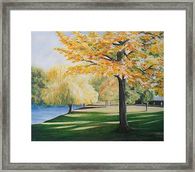 Framed Print featuring the painting Autumn At Lake Explanade by Jane  See