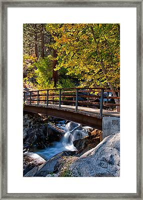 Autumn At The Bridge Framed Print by Cat Connor