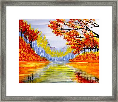 Autumn At The Lake Framed Print by Darren Robinson