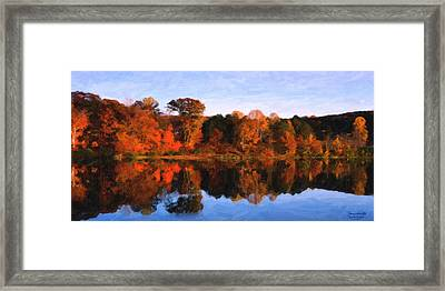 Autumn At The Lake Framed Print by Spyder Webb
