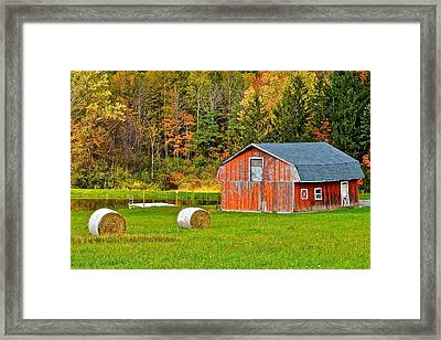 Autumn Barn And Bales Of Hay Framed Print by Frozen in Time Fine Art Photography
