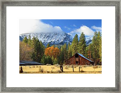 Autumn Barn At Thompson Peak Framed Print by James Eddy