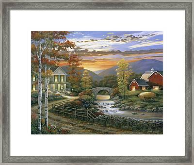 Autumn Barn Framed Print by John Zaccheo