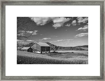 Autumn Barn Monochrome Framed Print