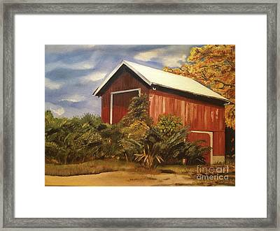 Autumn - Barn - Ohio Framed Print