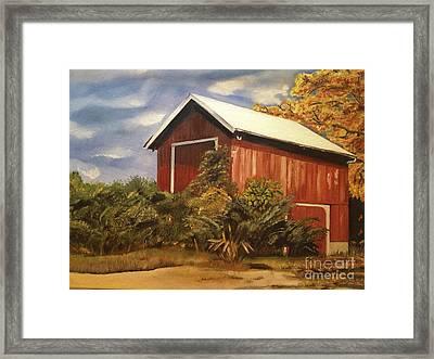 Autumn - Barn - Ohio Framed Print
