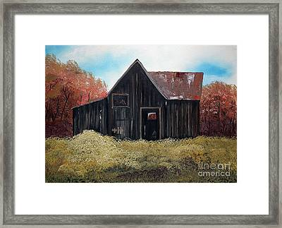 Autumn - Barn -orange Framed Print by Jan Dappen
