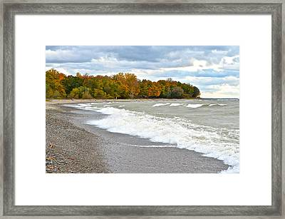Autumn Beach Scene Framed Print