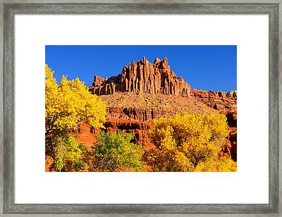 Framed Print featuring the photograph Autumn Beneath The Castle by Greg Norrell