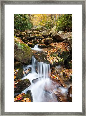 Autumn Blue Ridge Mountain Cascade Framed Print by Mark VanDyke