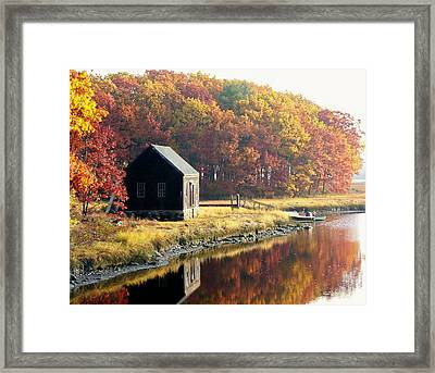 Autumn Boathouse Framed Print