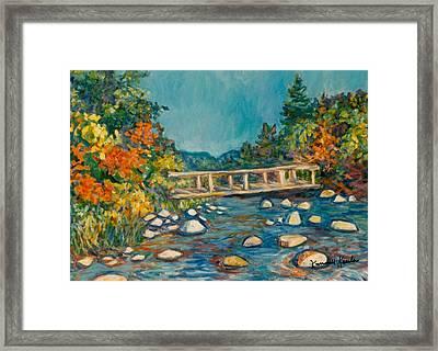 Autumn Bridge Framed Print by Kendall Kessler