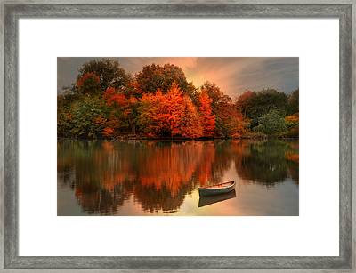 Framed Print featuring the photograph Autumn Canoe by Robin-Lee Vieira