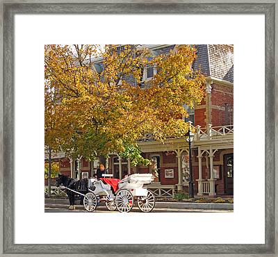 Autumn Carriage For Hire Framed Print by Barbara McDevitt