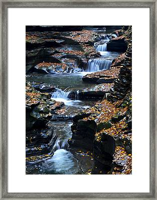 Autumn Cascade Framed Print by Frozen in Time Fine Art Photography