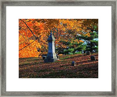 Autumn Cemetery Visit Framed Print