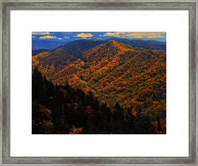 Autumn Colors Along The Smoky Mountains Framed Print by Dan Sproul
