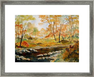 Framed Print featuring the painting Autumn Colors By The River by Dorothy Maier