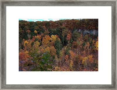 Autumn Colors In Taughannock State Park Ithaca New York Framed Print