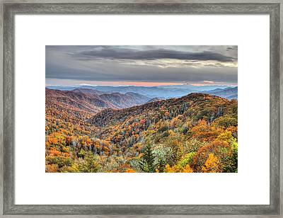 Autumn Colors On The Blue Ridge Parkway At Sunset Framed Print