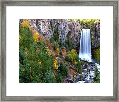 Autumn Colors Surround Tumalo Falls Framed Print