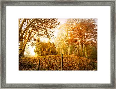Autumn Cottage Framed Print by Debra and Dave Vanderlaan