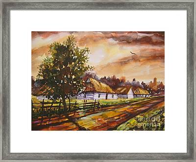Autumn Cottages Framed Print