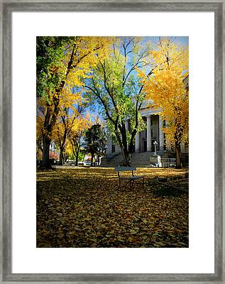 Autumn Courthouse Lawn Framed Print