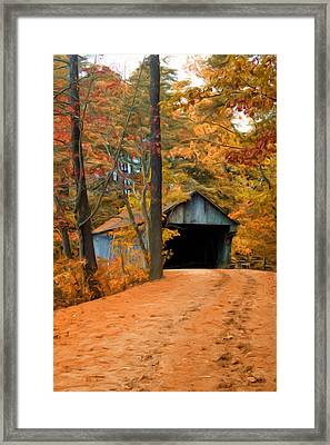 Autumn Covered Bridge Framed Print by Joann Vitali