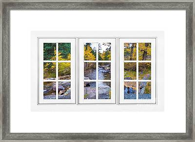 Autumn Creek White Picture Window Frame View Framed Print