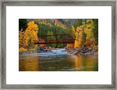 Autumn Crossing Framed Print by Mary Jo Allen