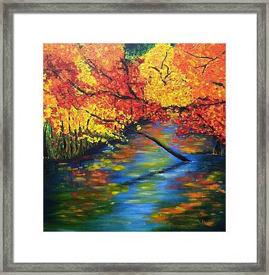 Autumn Crossing The River Framed Print