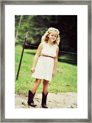 Autumn Days And Cowgirl Boots Framed Print by Chastity Hoff