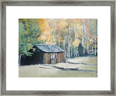 Autumn Descends On The Old Logger's Cabin Framed Print by Terri Ana Stokes