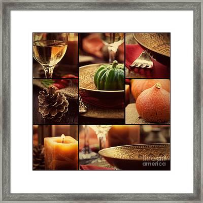 Autumn Dinner Collage Framed Print