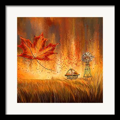 Reds Of Autumn Paintings Framed Prints