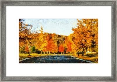 Autumn Drive In Lima Ohio Framed Print