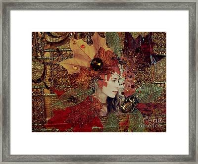Autumn Dryad Collage Framed Print by Maureen Tillman