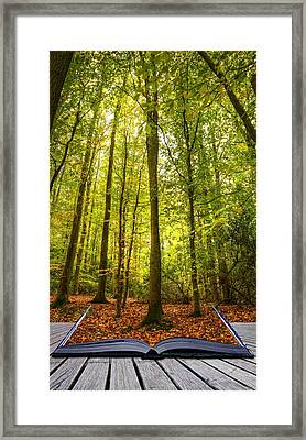 Autumn Fall Forest Landscape Magic Book Pages Framed Print by Matthew Gibson