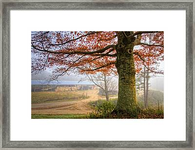 Autumn Farm Lane Framed Print by Debra and Dave Vanderlaan