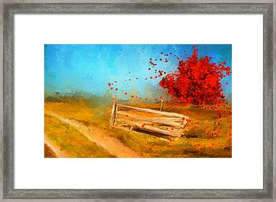 Autumn Farm- Autumn Impressionism Oil Palette Knife Painting Framed Print