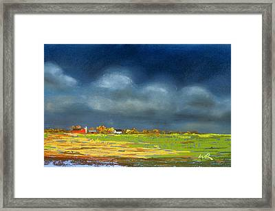 Framed Print featuring the painting Autumn Farm by William Renzulli
